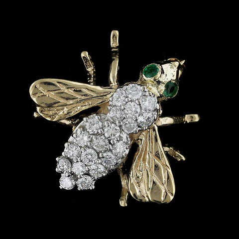 14K Yellow Gold Emerald and Diamond Bee Pin
