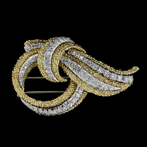 18K Two-tone Gold Diamond Brooch