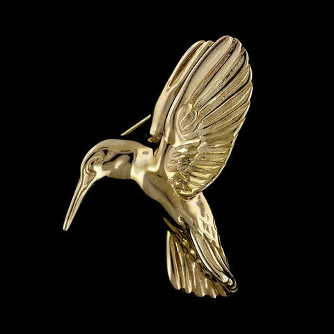 14K Yellow Gold Hummingbird Pin
