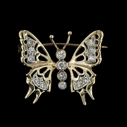 14K Two-Tone Gold Diamond Butterfly Pin