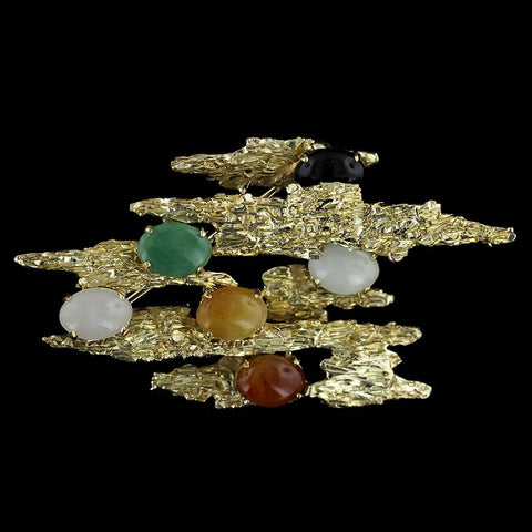 14K Yellow Gold Jadeite Pin