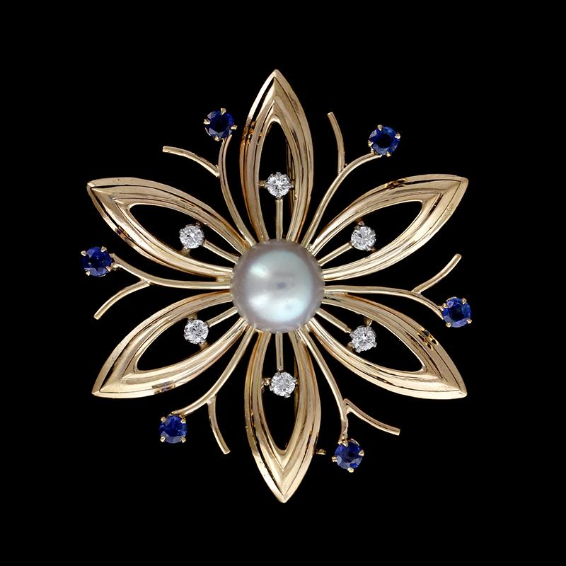 14K Yellow Gold Estate Cultured Pearl, Sapphire and Diamond Pin