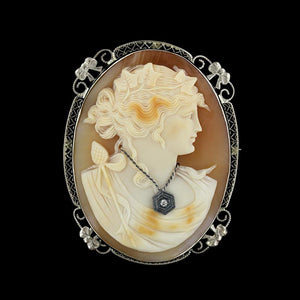 Vintage 14K White Gold Carved Cameo and Diamond Pin/Pendant