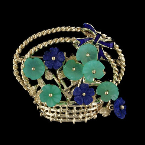 14K Yellow Gold Carved Lapis and Green Quartz Enamel Flower Basket Pin