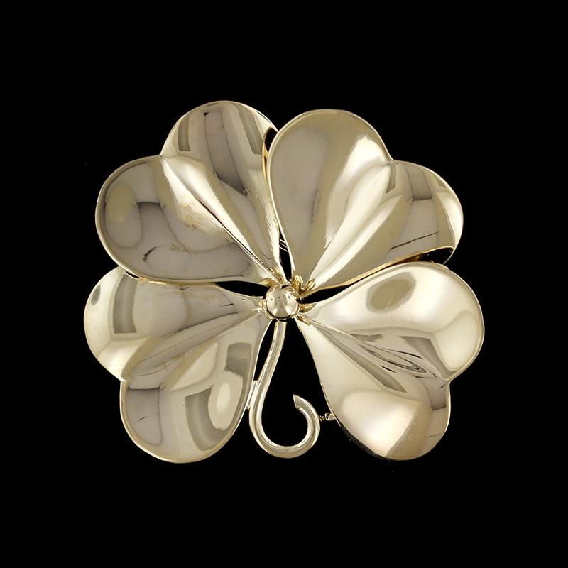 14K Yellow Gold Four Leaf Clover Pin