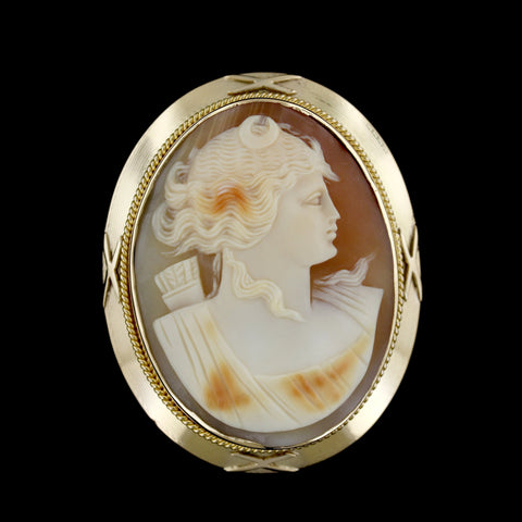 14K Yellow Gold Estate Cameo Pin/Pendant