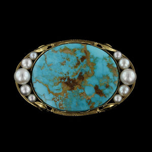 Arts & Crafts 14K Yellow Gold Turquoise and Cultured Pearl Pin