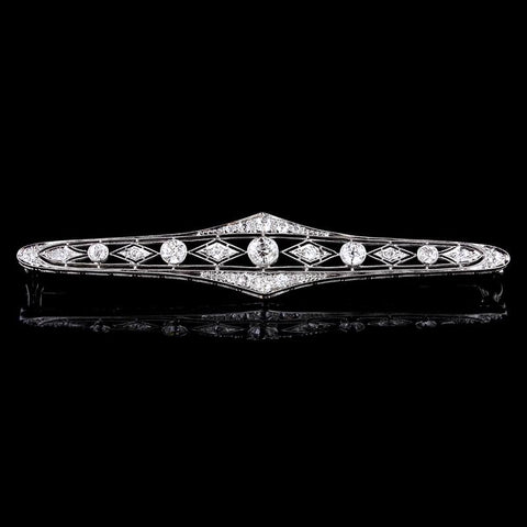 Vintage 14K White Gold Diamond and Onyx Bar Pin