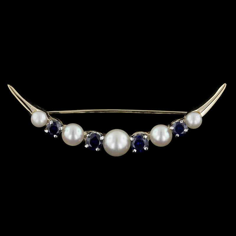 14K Yellow Gold Cultured Pearl and Sapphire Pin