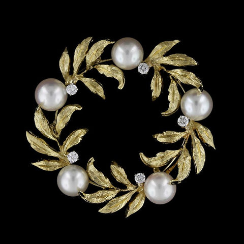 Kurt Wayne 18K Yellow Gold Estate Cultured Pearl and Diamond Pin