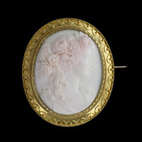 Antique 14K Yellow Gold Coral Cameo Pin