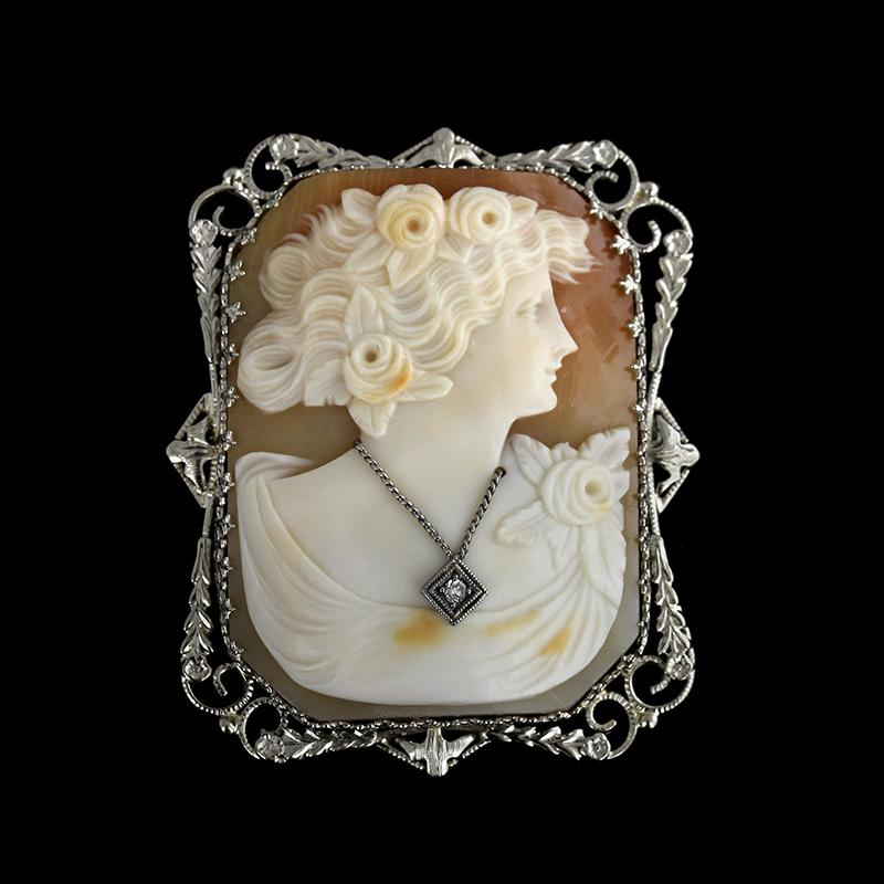 Antique 14K White Gold Estate Cameo and Diamond Pin/Pendant