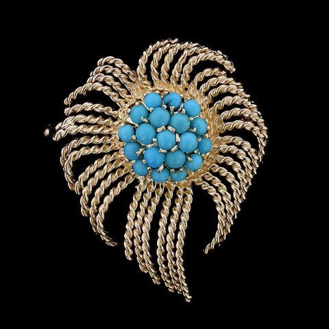 14K Yellow Gold Estate Turquoise Spray Pin