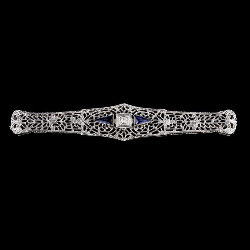 Antique 14K White Gold Estate Diamond and Synthetic Sapphire Bar Pin