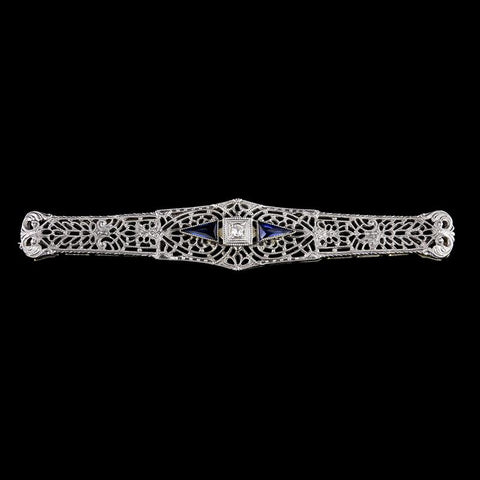 Antique 14K White Gold Diamond and Synthetic Sapphire Bar Pin