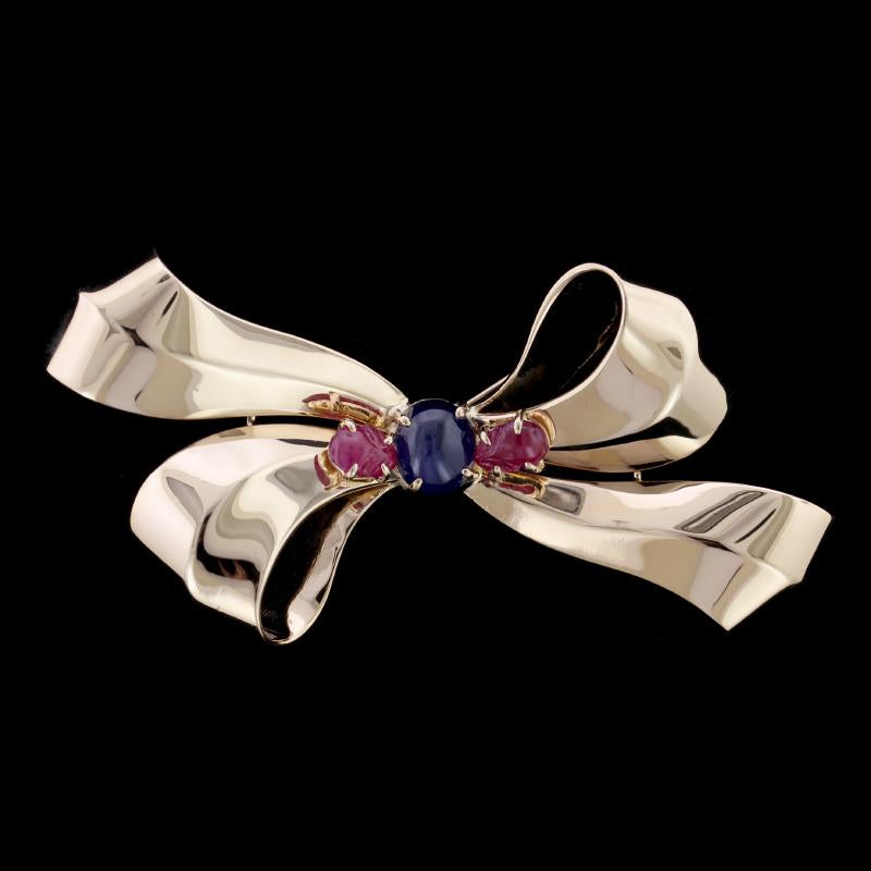 Retro 14K Yellow Gold Estate Sapphire and Ruby Bow Pin