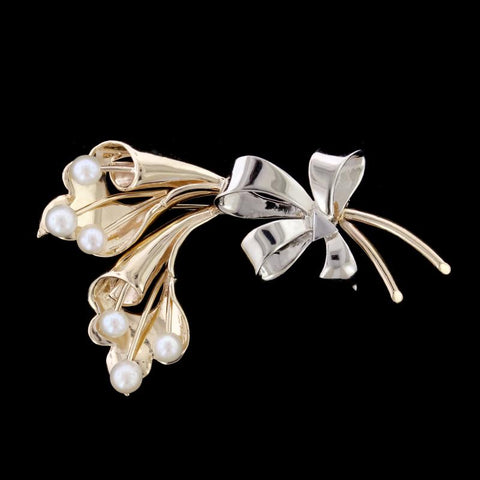 14K Two-Tone Gold Cultured Pearl Flower Pin