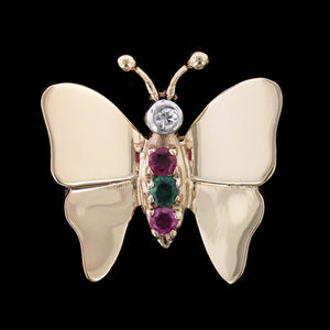 14K Yellow Gold Emerald, Ruby and Diamond Butterfly Pin