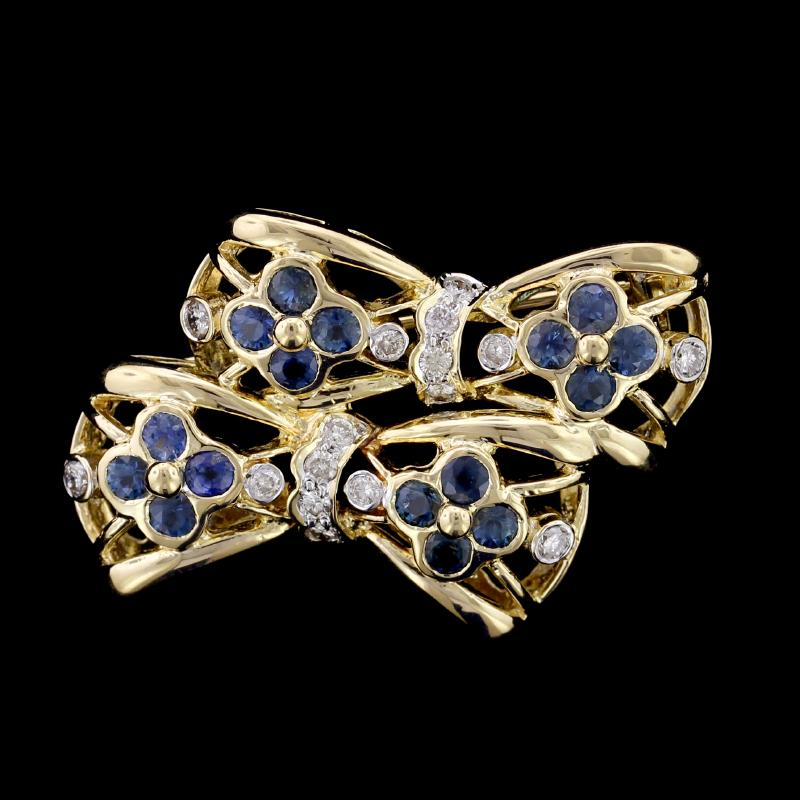 18K Yellow Gold Sapphire and Diamond Double Bow Pin