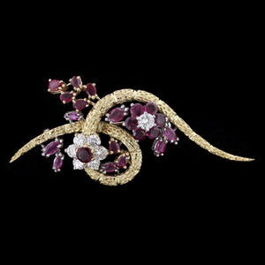 18K Two-Tone Gold Ruby and Diamond Pin