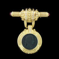 18K Yellow Gold Estate Glass Cameo, Diamond and Ruby Pin