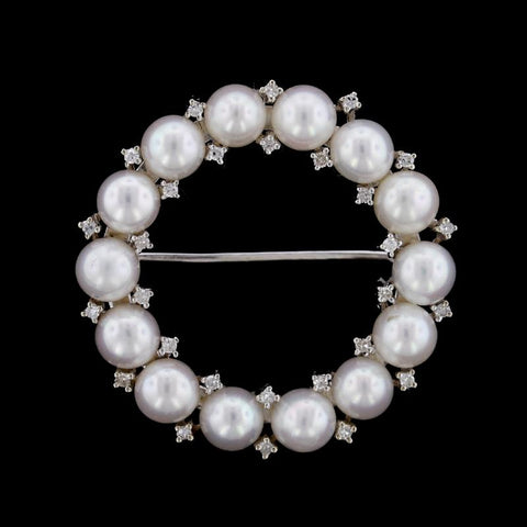 14K White Gold Cultured Pearl and Diamond Circle Pin