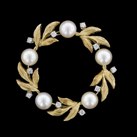 Kurt Wayne 18K Yellow Gold Cultured Pearl and Diamond Pin
