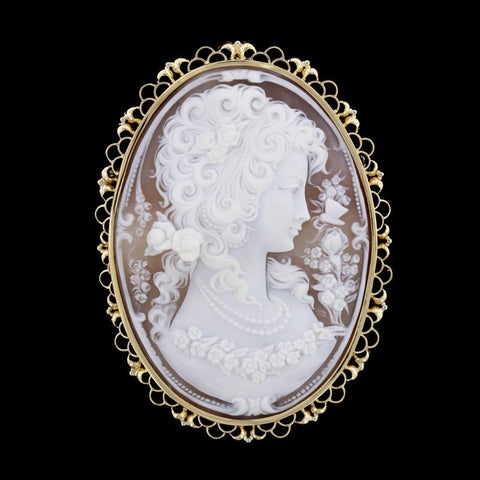 18K Yellow Gold Estate Cameo Pin