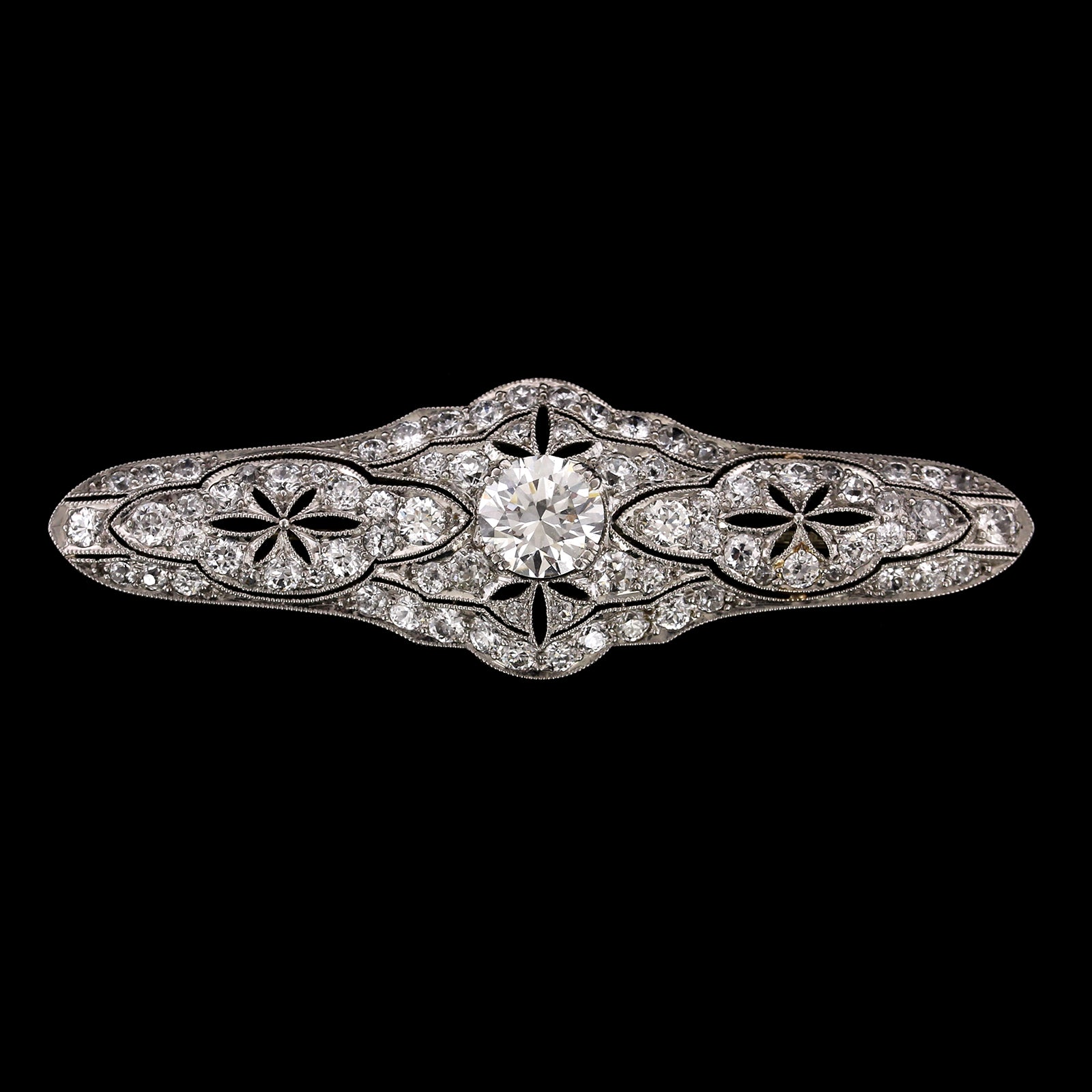 Art Deco Platinum Estate Diamond Bar Pin
