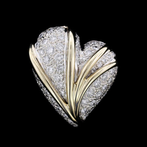 14K Two-Tone Gold Estate Diamond Heart Pin