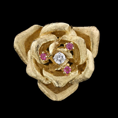 14K Yellow Gold Estate Ruby and Diamond Flower Locket Pin