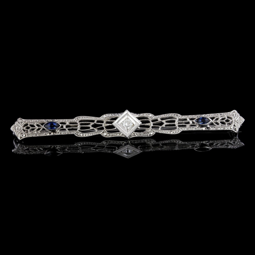 Vintage 14K White Gold Diamond and Synthetic Sapphire Bar Pin