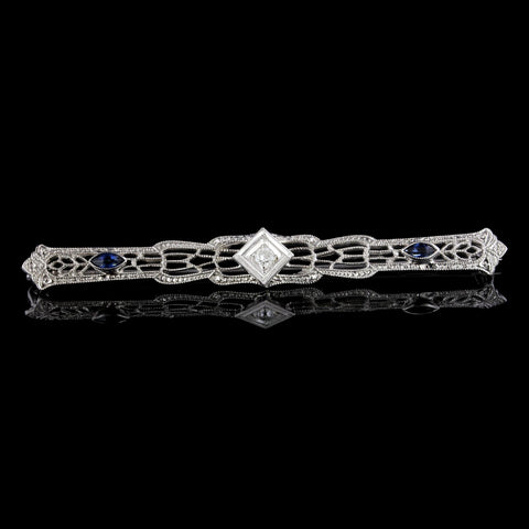 Vintage Platinum and 14K Yellow Gold Diamond and Sapphire Bar Pin