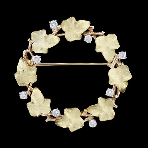 14K Yellow Gold Diamond Circle Pin