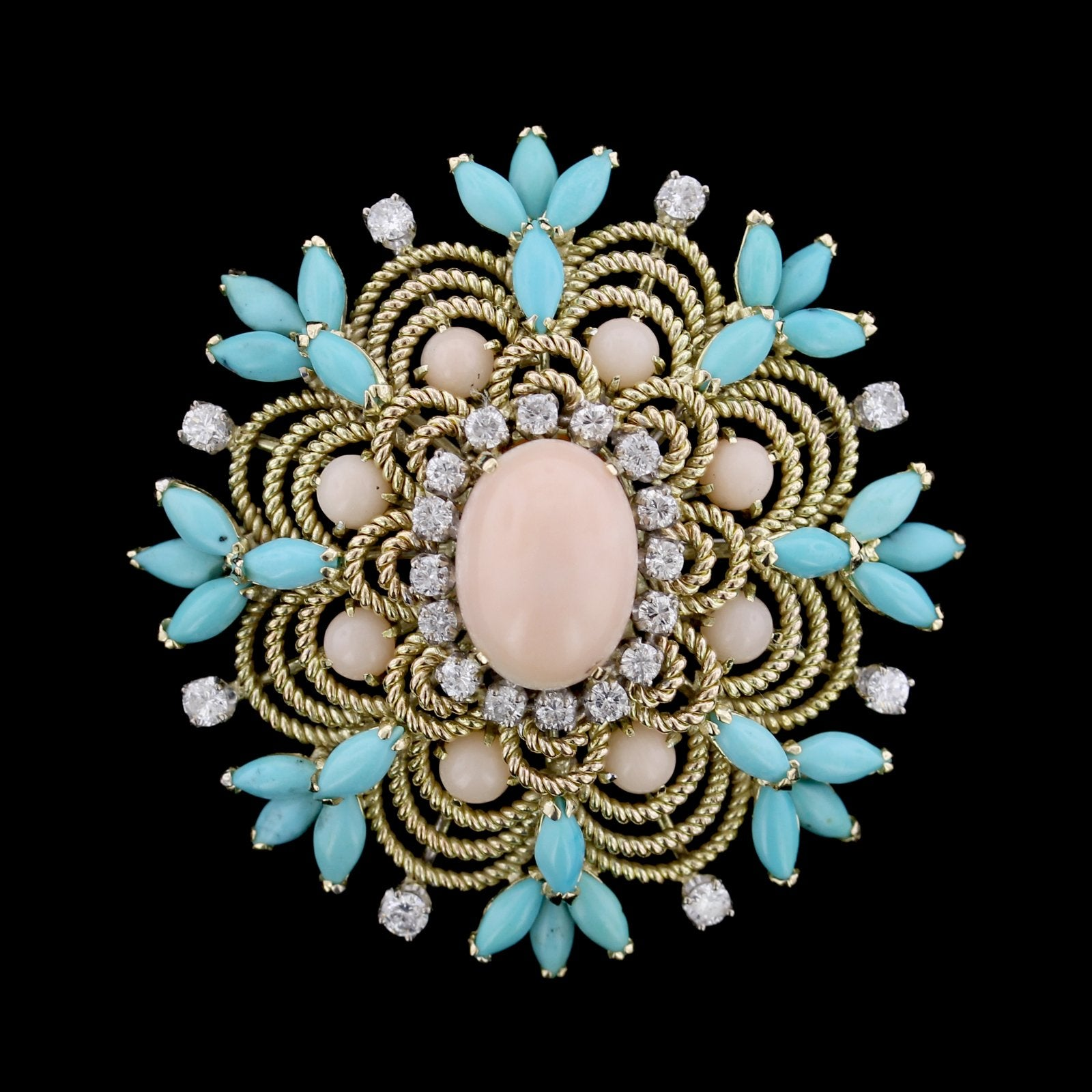 14K Yellow Gold Estate Turquoise, Coral and Diamond Pin