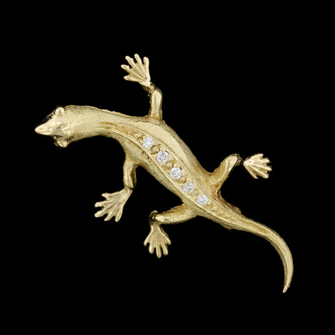 18K Yellow Gold Estate Diamond Salamander Pin
