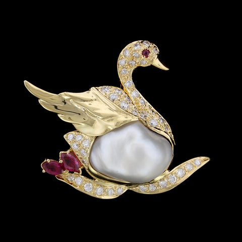 18K Yellow Gold Cultured Baroque Pearl, Ruby and Diamond Swan Pin