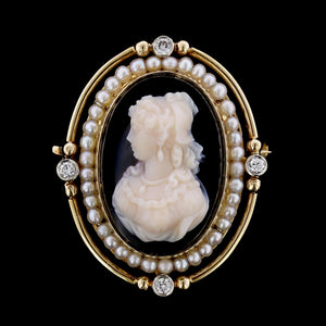 Vintage 14K Yellow Gold Hardstone Cameo, Pearl and Diamond Pin