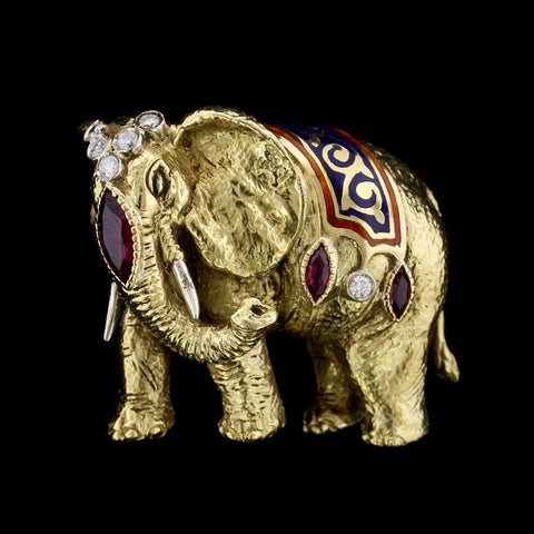 18K Yellow Gold Estate Ruby, Diamond and Enamel Elephant Pin