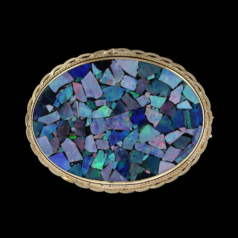 14K Yellow Gold Estate Mosaic Opal Triplet Pin/Pendant
