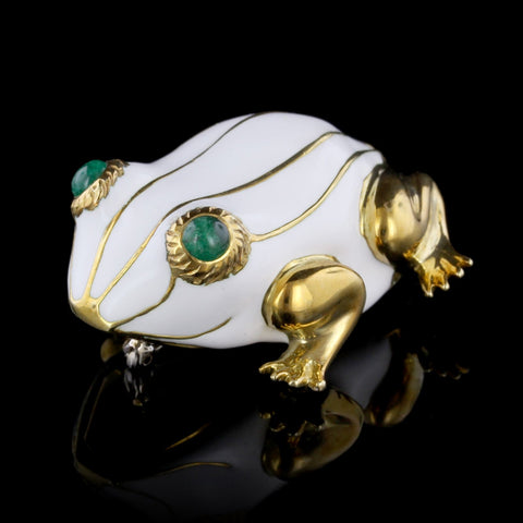 18K Yellow Gold White Enamel and Emerald Frog Pin