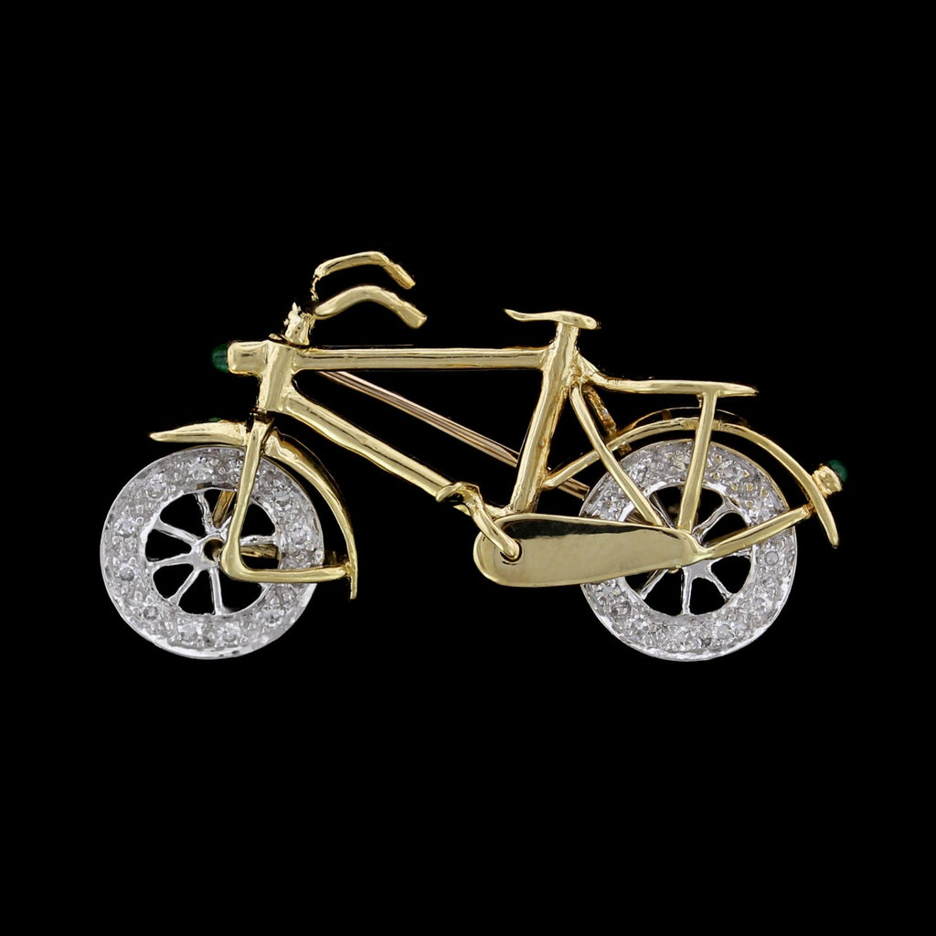Le Vian 18K Two-Tone Gold Estate Diamond Moveable Bicycle Pin