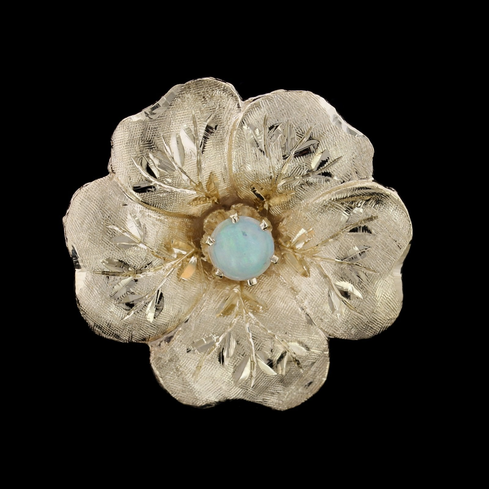 14K Yellow Gold Opal Flower Pin