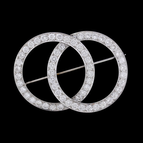 Platinum Estate Diamond Double Circle Pin