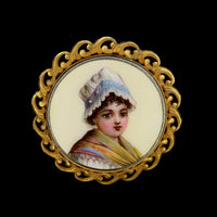 Antique 14K Yellow Gold Estate Hand Painted Porcelain Pin