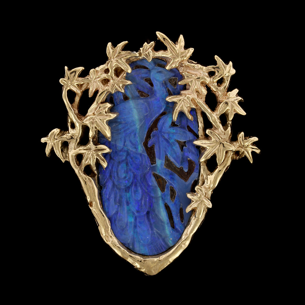 14K Yellow Gold Carved Opal Doublet Peacock Pin/Pendant
