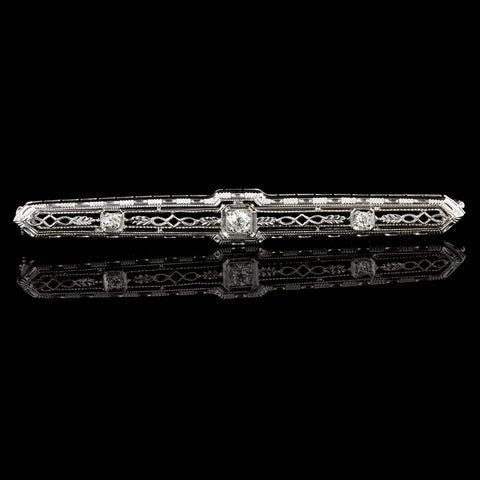 Vintage 14K White Gold Estate Diamond Bar Pin