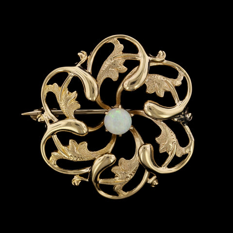 14K Yellow Gold Opal Pin