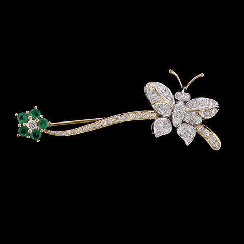 14K Two-tone Gold Diamond and Emerald Butterfly Pin