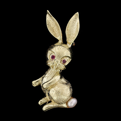 14K Yellow Gold Estate Bunny Rabbit Pin